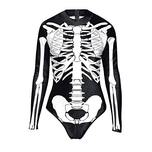 Petalum Damen Skelett Overall Halloween Karneval 3D Druck Bodysuit Skelett Organ Body One Piece Badenazug Swimsuit