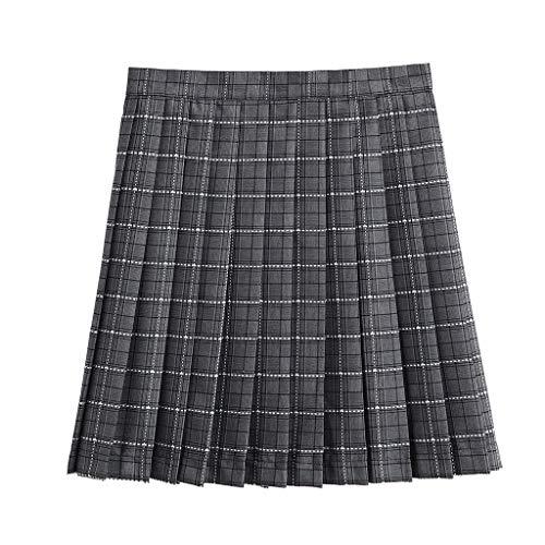 Zarupeng Damen Schulmädchen-Stil Plaid Skater Röcke Elastische Taille Mini Faltenrock Schuluniform Kurz Rock Strand Rock
