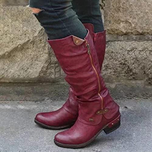 Ygerbkct Botas de Mujer Botas de Punta Puntiaguda Cremalleras de tacón Medio de caña Alta en Ambos Lados Botas Senderismo al Aire Libre Zapatillas de Deporte con Punta Cerrada