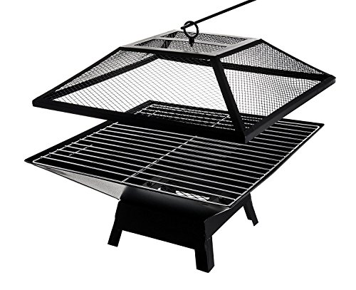 Groundlevel Square Outdoor Fire Pit Heater And Grill, Ideal For Bbq,s Or Keeping warm On Chilly Nights