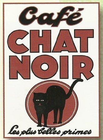 Plaques Metal Pub Retro Old Hängelampen, Chat Noir Reklame Blechschild, 20 x 15 cm