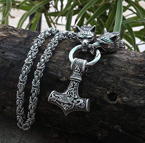 Collar de acero inoxidable para hombre, cabeza de lobo vikingo con martillo de Thor Mjolnir colgante de talismán norse joyería étnica