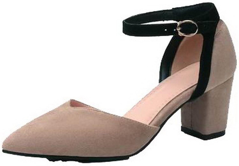 AllhqFashion Women's Closed-Toe Kitten-Heels Blend Materials Sandals