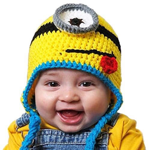 Thenice Bonnet Minion Tricot Chaud Hiver Chapeaux pour Bébé Fille/Garçon (Bleu)