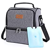 Lifewit 7L Dual Compartment Insulated Lunch Bag with Ice Pack for Adults/Men/Women/Kids, Water-Resistant Leakproof Soft Cooler Bag Thermal Bento Box for Work/School/Picnic (Grey)