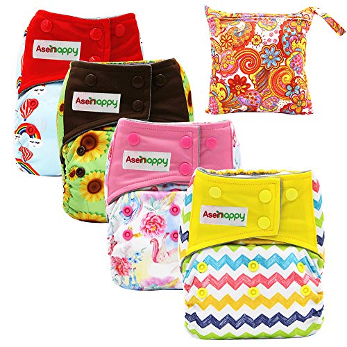 Asenappy Cloth Diaper 4 PCs Reusable Diapers