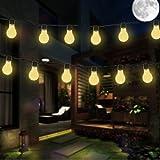 luci della stringa solare,DINOWIN Impermeabile 11.5ft 10LED Bulbi Luce,perfetto per patio,caffè, giardino,cerimonia nuziale,decorazione del partito (Bianco Caldo)