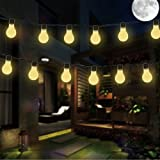 Solar Bombilla Luces de cadena, DINOWIN Impermeable 11.5ft 10LED bombillas Fairy String luces para interior/al aire libre, perfecto para el patio,café, jardín, boda (Blanco cálido)