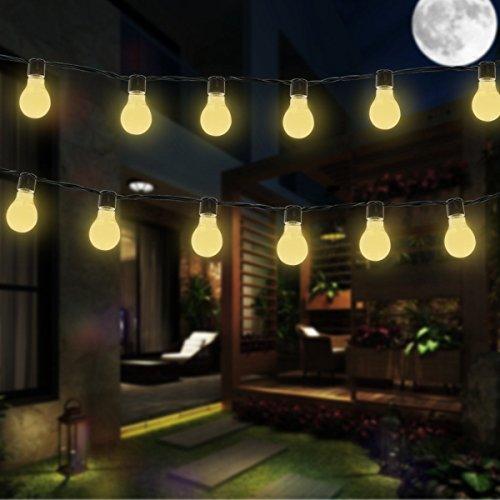 Catena luminosa lampadina, luci della stringa solare, DINOWIN Impermeabile 11.5ft 10LED Bulbi Luce Bianca Caldo,perfetto per il patio, il caffè, il giardino, la cerimonia nuziale, la decorazione del partito (Bianco Caldo)