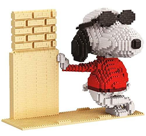 QSSQ 2380Pcs + Micro-Bausteine Cartoon-Hund-Modell 3D-Hund Anime Figures Modell Mini Bricks Spielzeug Für Kinder, Snoopy