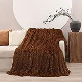 Manta Pelo, 160 x 200 cm Manta de Doble Cara Súper Cálida y Cómoda, Suave y Esponjoso, Antiarrugas y de Fácil Cuidado, Mantas para Sofa o Salón (Marrón)