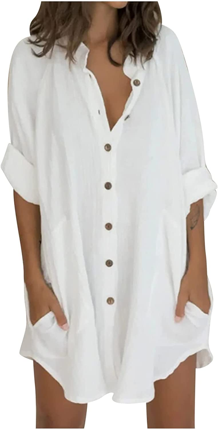 Womens Loose Tops Button Down Long Linen Shirts 3/4 Sleeve Baggy Comfy Casual Blouse Tee Shirts Dress with Pockets