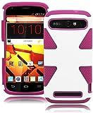 ZTE Warp Sync Phone Case, Bastex Heavy Duty Hybrid Soft Hot Pink Silicone Cover Hard White Dynamic Case for ZTE Warp Sync N9515