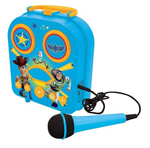 Lexibook BTC050TS Disney Toy Story 4, Mein geheimes tragbares Mikrofon, Karaoke-Funktion, Aux-In-Buchse, Kartenschacht für Speicherkarte, blau