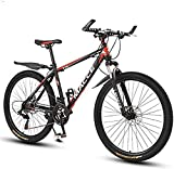RDJSHOP Bicicleta de Montaña para Adultos de 26 Pulgadas, 21 Velocidades Bicicleta de Freno de Disco Dual, Bicicleta MTB con Marco de Aleación para Ciclismo Al Aire Libre,Red