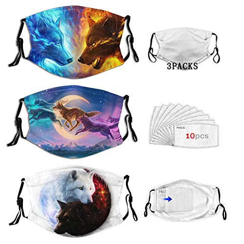 BZKIER Wolf Mask Adult 3 Pack Reusable Washable Dustproof Breathable Windproof Adjustable Mask With Nose Wire And Adjustable Ear Loops Wolf Face Mask With 10 Pcs Replaceable Filters