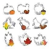 Thanksgiving Cookie Cutters, 9 PCS Fall Cookie Cutters, Thanksgiving Holiday Cookie Cutters Set - Pumpkin, Turkey, Maple Leaf, Oak Leaf, Teardrop Leaf, Turkey Leg, Corn, Squirrel and Acorn