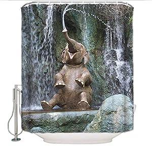 Cloud Dream Elephant Shower Curtain,Wild Little Elephant Playing Water Polyester Fabric Bathroom Curtain Set,72 (w) x 72 (h)