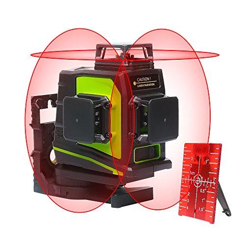 Huepar GF360R 3 x 360 kruislijnlaser rood, 360 graden lijnlaser zelfnivellerend laser niveau met pulsfunctie, 20 m werkbereik, USB-oplaadaansluiting, incl. lithiumbatterij magneethouder