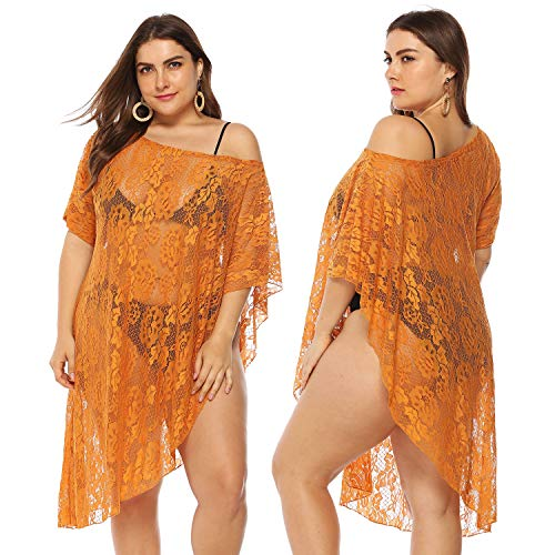 GERINLY Lace Swimsuit Cover Up Plus Size Bathing Suit Cover Orange Loose Beach Poncho Tunic Top