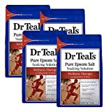 Dr Teal's Epsom Salt Soaking Solution, Wellness Therapy with Rosemary and Mint - 4 Count, 3 lbs Bag - 12 lbs Total