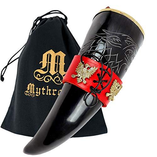 Mythrojan The King of the North Trinkhorn mit rotem Lederhalter, authentische mittelalterliche inspirierte Wikinger-Tasse, polierte Oberfläche
