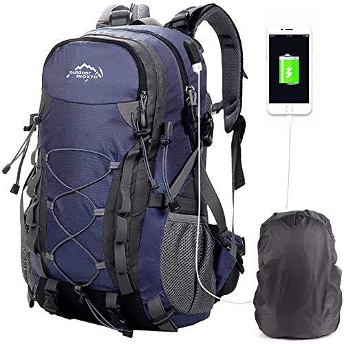 Mochilas De Marcha, Mochila De Senderismo Trekking Mujer Hombre Resistente Al Agua 40L litros Al Aire Libre Ligera Gran Capacidad para Viajes Montañismo Escalada USB Backpack (3-Azul Oscuro)
