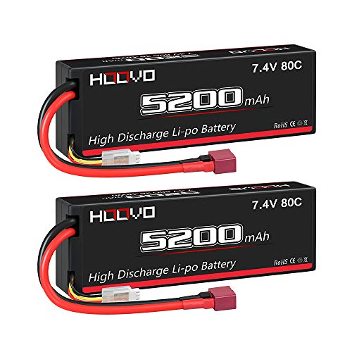 HOOVO 2S 7.4V 5200mAh 80C RC LiPo Battery Hard Case with Deans Connector for RC Buggy Vehicles Car Boat Truck (2 Pack)