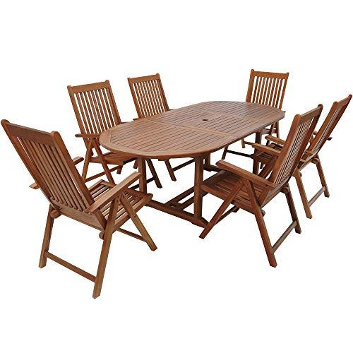 CASARIA Tavolo e sedie da Giardino 7 Pezzi Legno di eucalipto Certificato FSC® Tavolo allungabile Set da Pranzo Giardino terrazzo Balcone