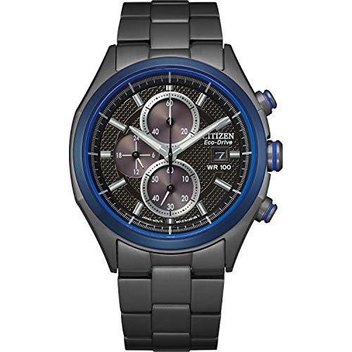 Citizen Reloj casual de cuarzo para hombre, correa de acero inoxidable, negro, 22 años (modelo: CA0438-52E)