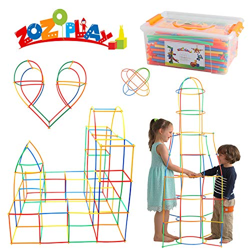 ZoZoplay Straw Constructor STEM Building Toys 400 Piece Straws and Connectors Building Sets Colorful...