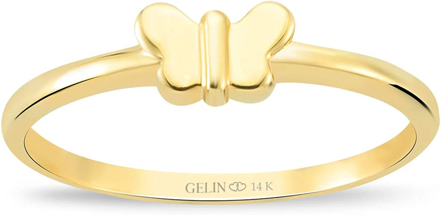 GELİN Butterfly Ring in 14k Solid Gold   Stackable Ring for Women   Gold Jewelry Mood Dainty Ring - Size 6