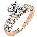 Dazzlingrock Collection - Anillo de compromiso para mujer, 5 mm, diamante redondo blanco, solitario, oro rosa de 18 quilates, talla 4,5