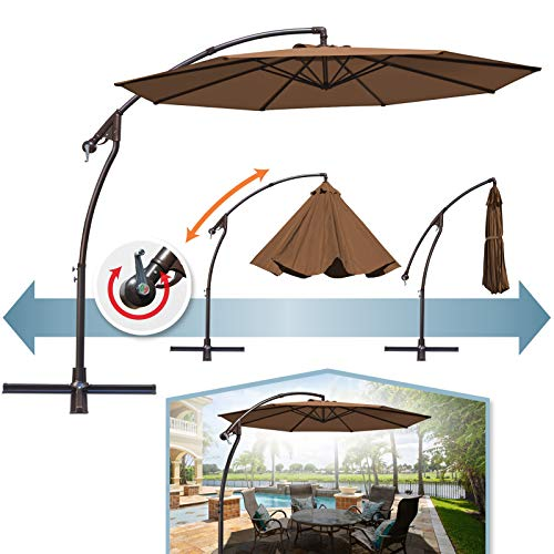 BenefitUSA 10'Cantilever Patio Umbrella Garden Outdoor Sunshade Hanging Market (Brown)