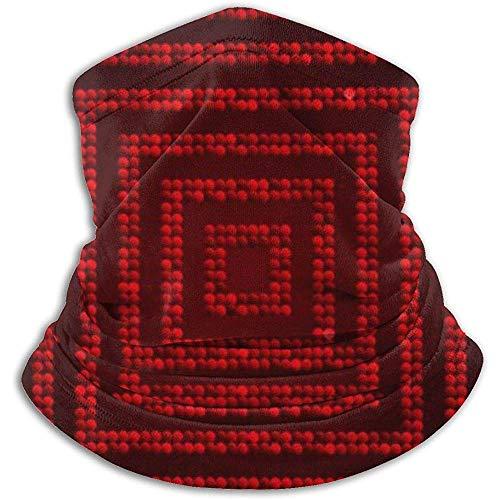 Cuello Bufanda Concéntrico Cuadrado Mosaico Rojo Lentejuelas Brillo Pasamontañas Máscara de esquí Más cálido Invierno Abrigo para la Cabeza
