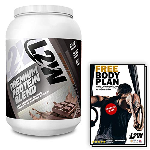 L2W Whey Protein Powder Blend I Mass and Weight Gainer I Premium Muscle Building Supplement I 1kg Chocolate Flavor Protein Isolate Shake I 30 Servings I ISO & GMP I Vegetarian I Free Workout Plan