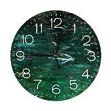 岐阜県関市のモネの池と鯉 掛け時計 壁掛け時計 おしゃれ 北欧 連続秒針 サイレント コンパク 円形 ウォールクロック 静音 デジタル置き時計 電池式 部屋装飾 プレゼント 直径約25CM