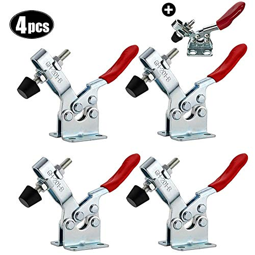 4 Pcs GH-201-B kniehebelspanner schnellspanner Handwerkzeug waagrechtspanner Verzinkter 90 Kg Haltevermögen ,Mit GH-201 spanner 1 Stück
