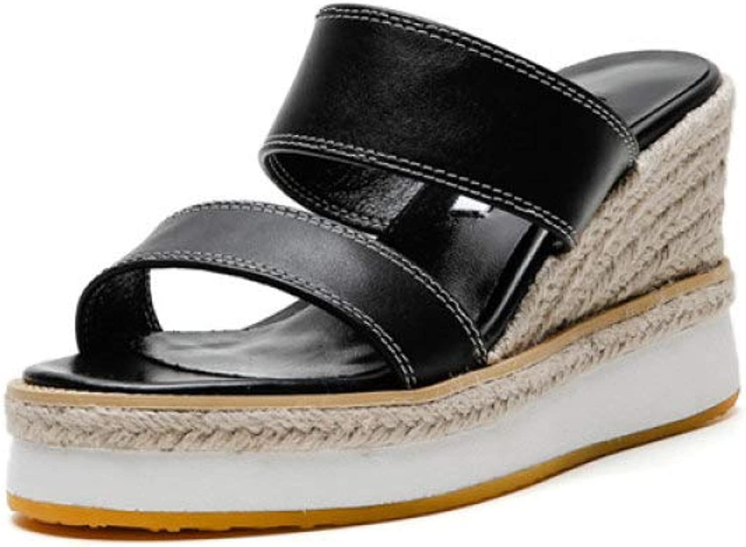T-JULY Women Wedge Sandals Woman Genuine Leather Slopper Sweet Concise Platform Casual shoes Summer Basic Mules in Beige Black Yellow