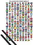1art1 Flaggen Der Welt Poster (91x61 cm) Ländernamen Und Hauptstädte, In Deutsch Inklusive EIN Paar Posterleisten, Schwarz