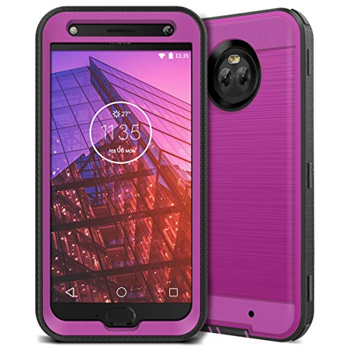 CinoCase Moto X4 Case, X4 Phone Case Heavy Duty Protective Case Hybrid TPU Bumper Shockproof Case with Brushed Metal Texture Hard PC Back for Moto X4 Purple