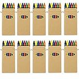 Générique Lot de 10 boites de Crayons de Cire pour coloriage pour fêtes d'enfants, Sacs Surprise, Cadeau de Mariage
