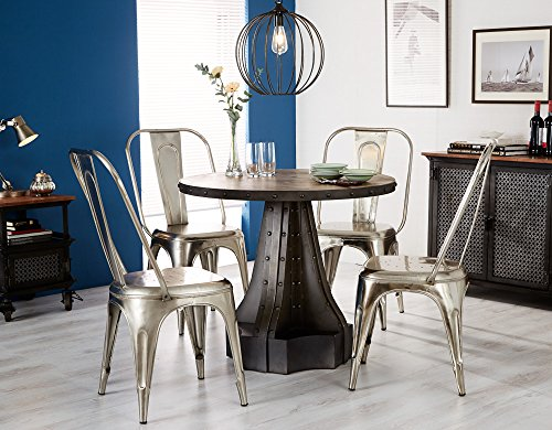 Rustic Industrial Handcrafted Solid Wood and Reclaimed Metal Round Dining Table