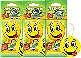AREON Smiley Désodorisant Voiture Tutti Frutti Rétroviseur Drôle Fun Rigolo Suspendu Jaune Maison (Lot de 3)