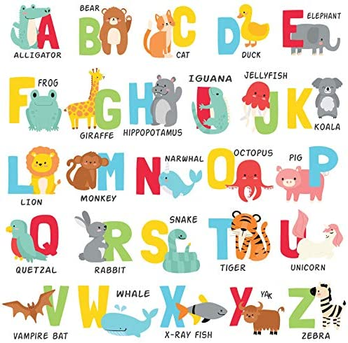 Mienno Alphabet Wall Decals Animal Alphabet Wall Stickers for Kids Room Nursery Room Classroom product image