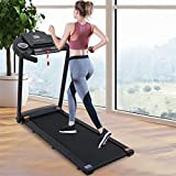 【US Fast Shipment】 Folding Treadmills for Home Gym, 500 Lbs Weight Capacity Electric Motorized Running Machine with LCD Display, 12 Preset Programs, Treadmill Speakers Bluetooth (Black-C)