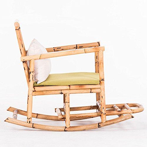 LVZAIXI prachtige antieke vintage schommelstoel, hardhout, rotan, loungestoel