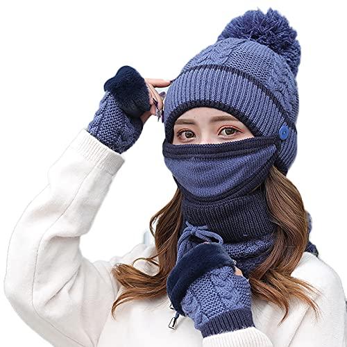 4 in 1 Winter Knitted Beanie Hat Face Neck Warmer Set for Women Girls Fleece Lining Ski Caps with Pompom/Solid Fingerless-Blue