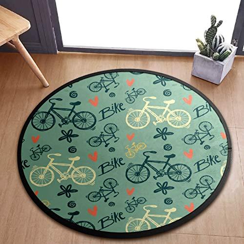 ALINLO Alfombra redonda para niños, diseño vintage de bicicleta, alfombra de juegos para bebé, alfombra para el dormitorio, sala de juegos, decoración del hogar, 92 cm