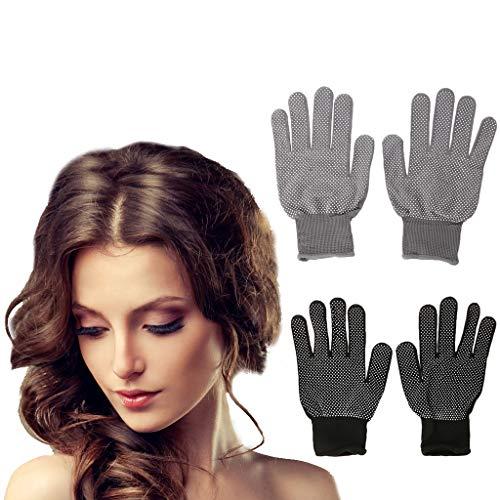 Haven Shop Beschermende Haar Handschoenen, 2 stks Hittebestendige Beschermende Handschoen Haar Styling voor Curling Straight Flat Iron Zwart